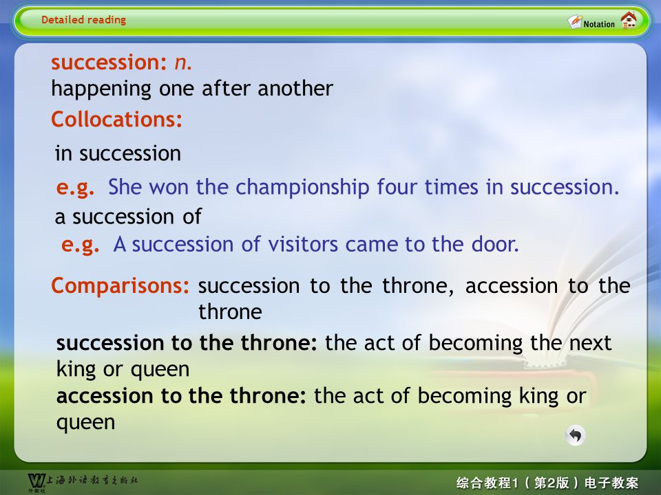 Detailed reading–succession