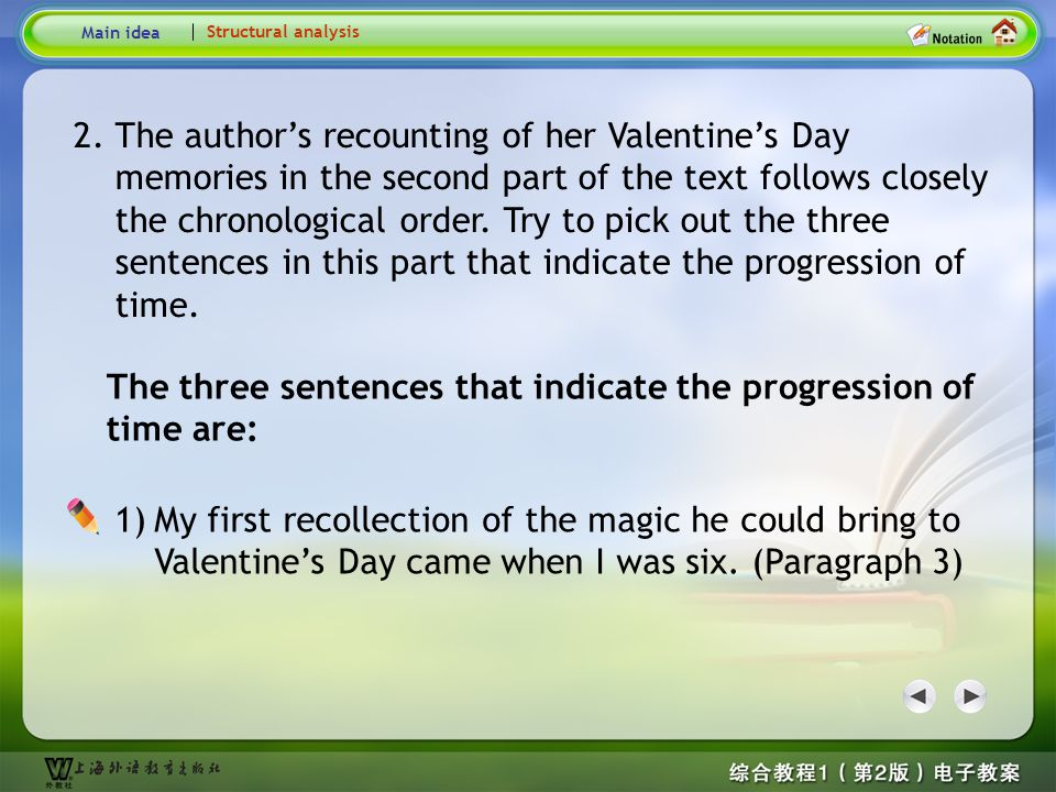 The three sentences that indicate the progression of time are: