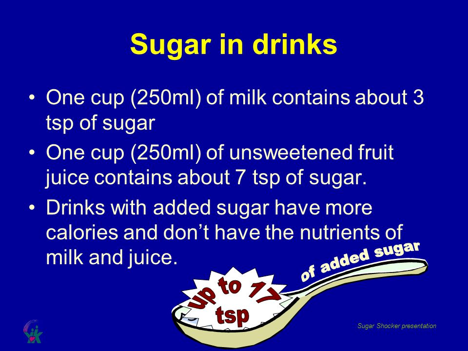 Sugar in drinks of added sugar up to 17 tsp