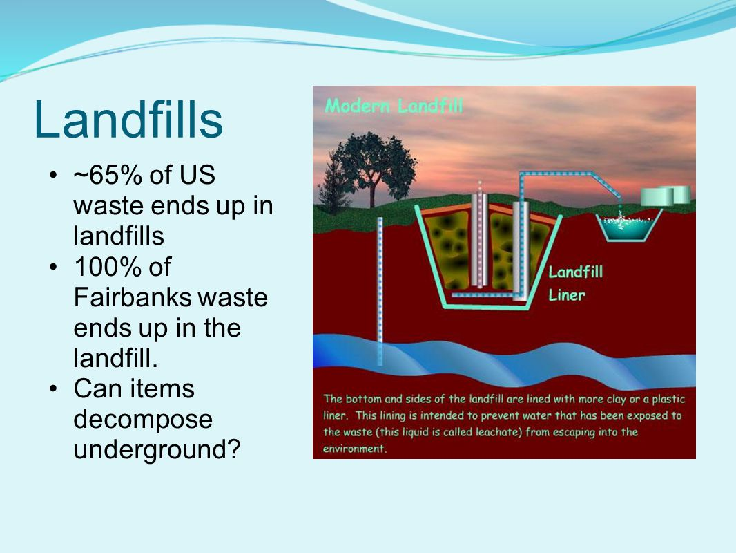 Landfills ~65% of US waste ends up in landfills