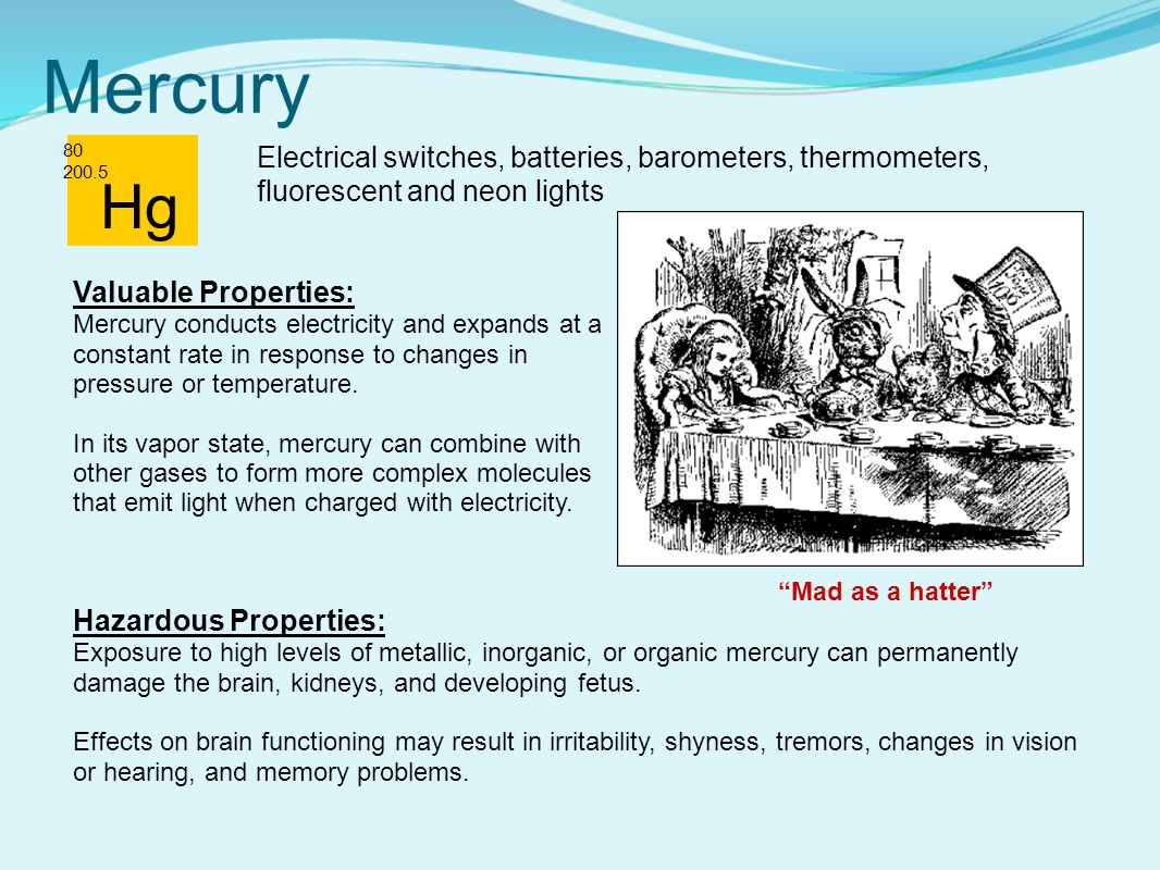 Mercury 80 200.5. Electrical switches, batteries, barometers, thermometers, fluorescent and neon lights.