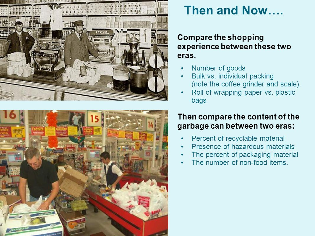 Then and Now…. Compare the shopping experience between these two eras.