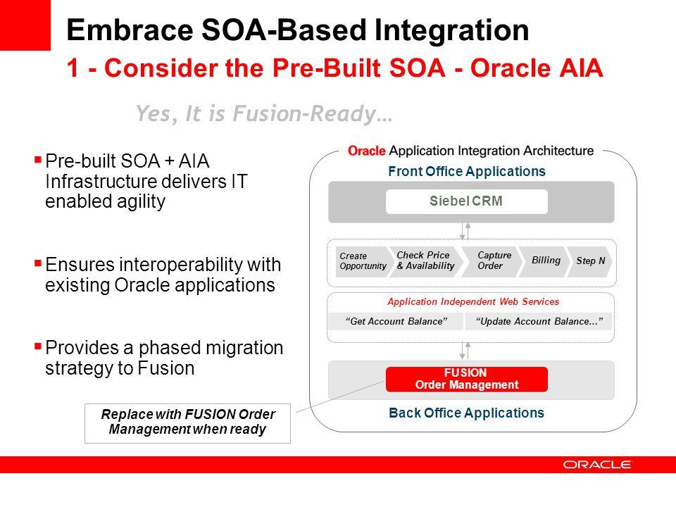 Embrace SOA-Based Integration 1 - Consider the Pre-Built SOA - Oracle AIA