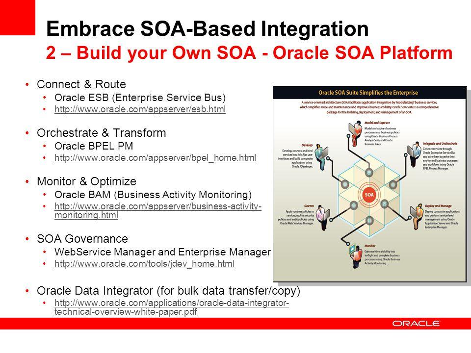 Embrace SOA-Based Integration 2 – Build your Own SOA - Oracle SOA Platform
