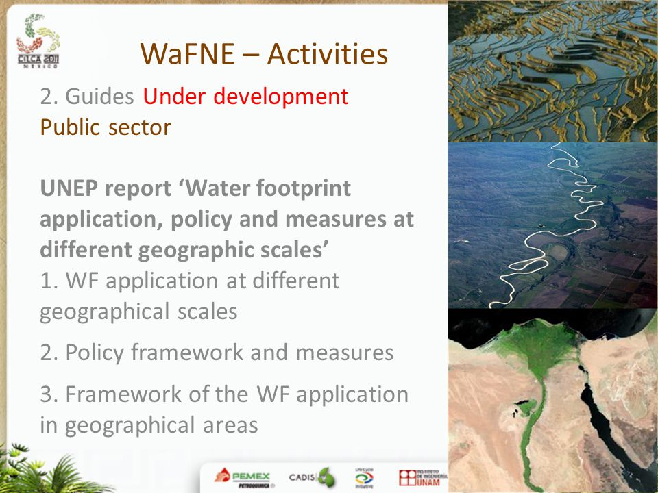 WaFNE – Activities 2. Guides Under development Public sector