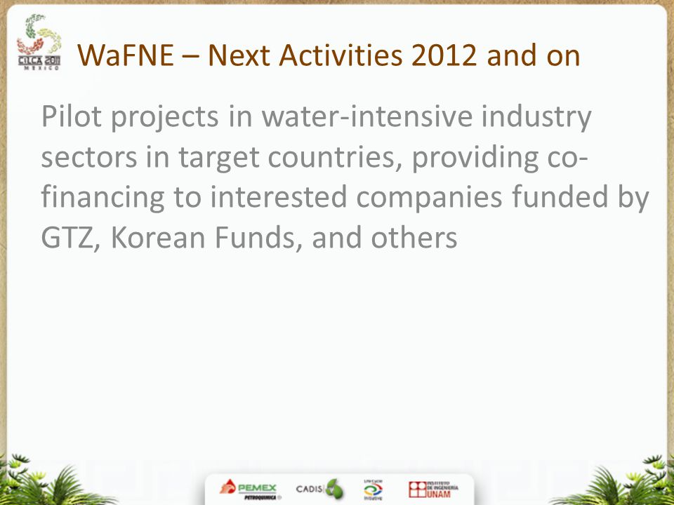 WaFNE – Next Activities 2012 and on