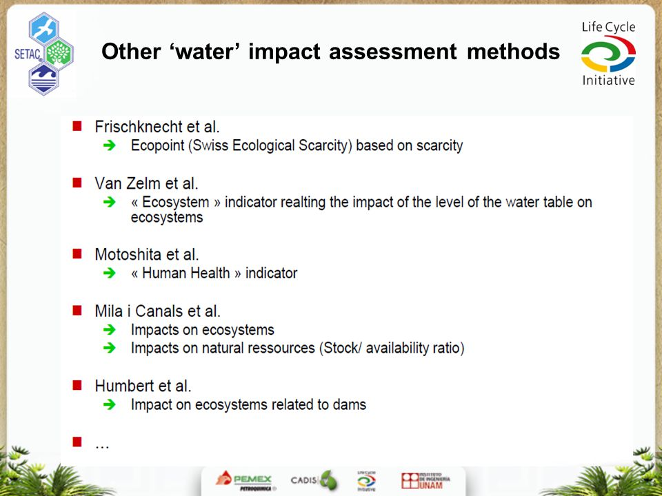 Other 'water' impact assessment methods