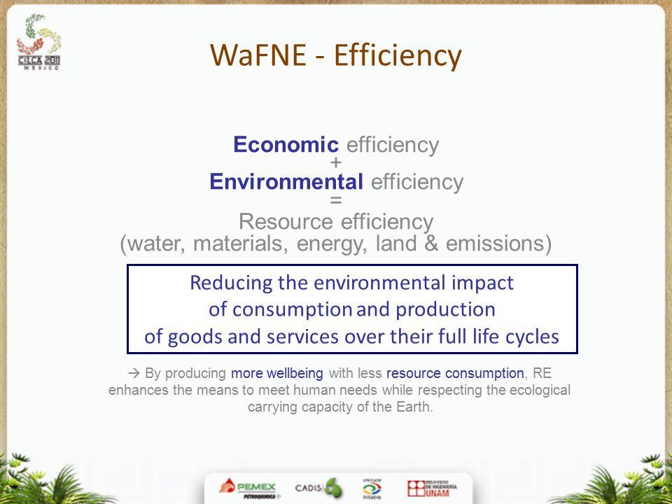 WaFNE - Efficiency Economic efficiency + Environmental efficiency =