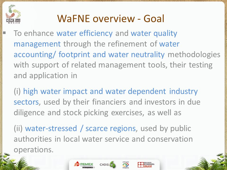 WaFNE overview - Goal