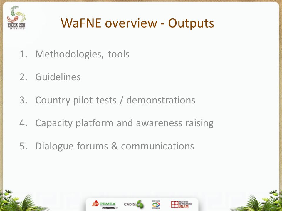 WaFNE overview - Outputs