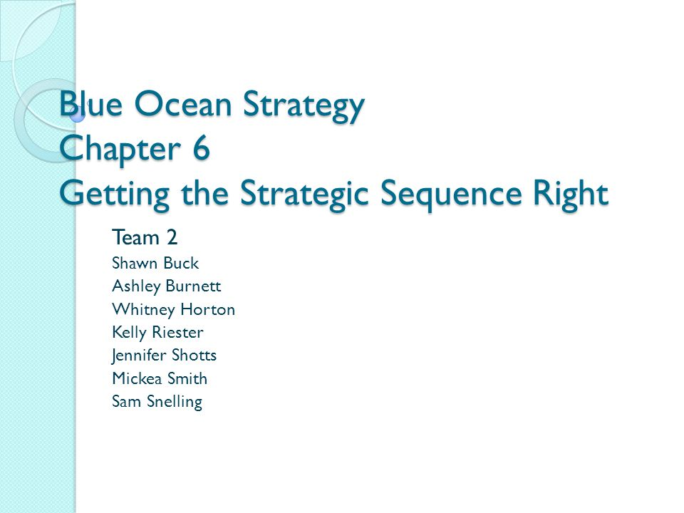 Blue Ocean Strategy Chapter 6 Getting the Strategic Sequence Right