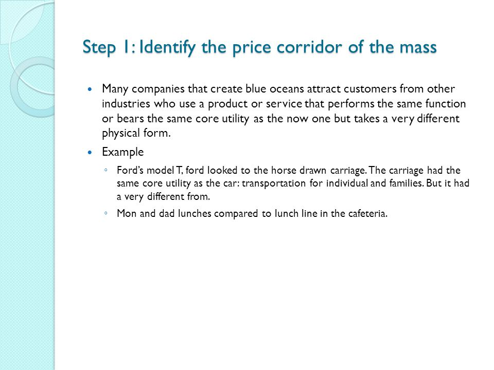 Step 1: Identify the price corridor of the mass