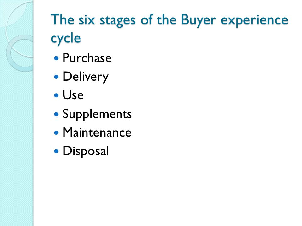 The six stages of the Buyer experience cycle