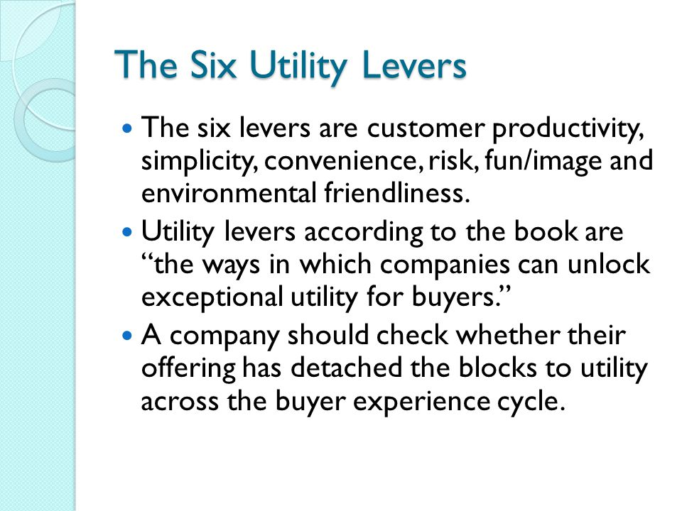 The Six Utility Levers The six levers are customer productivity, simplicity, convenience, risk, fun/image and environmental friendliness.