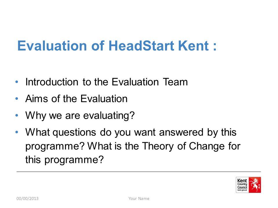 Evaluation of HeadStart Kent :