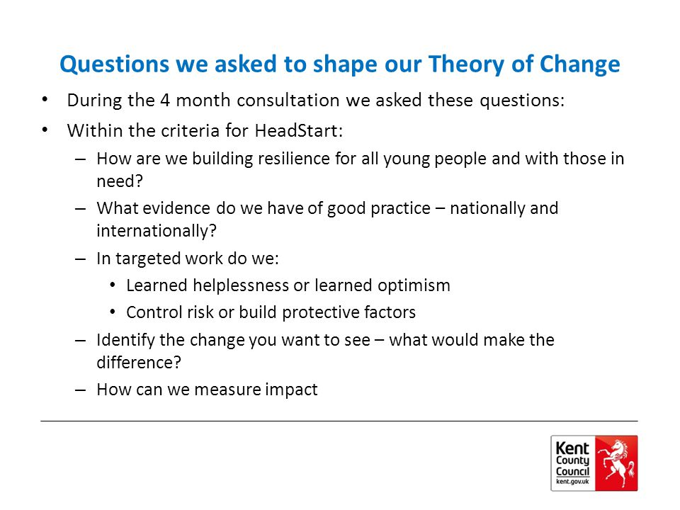 Questions we asked to shape our Theory of Change