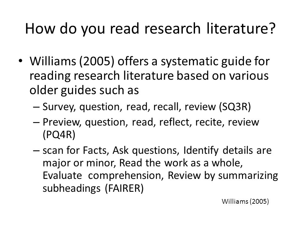 How do you read research literature