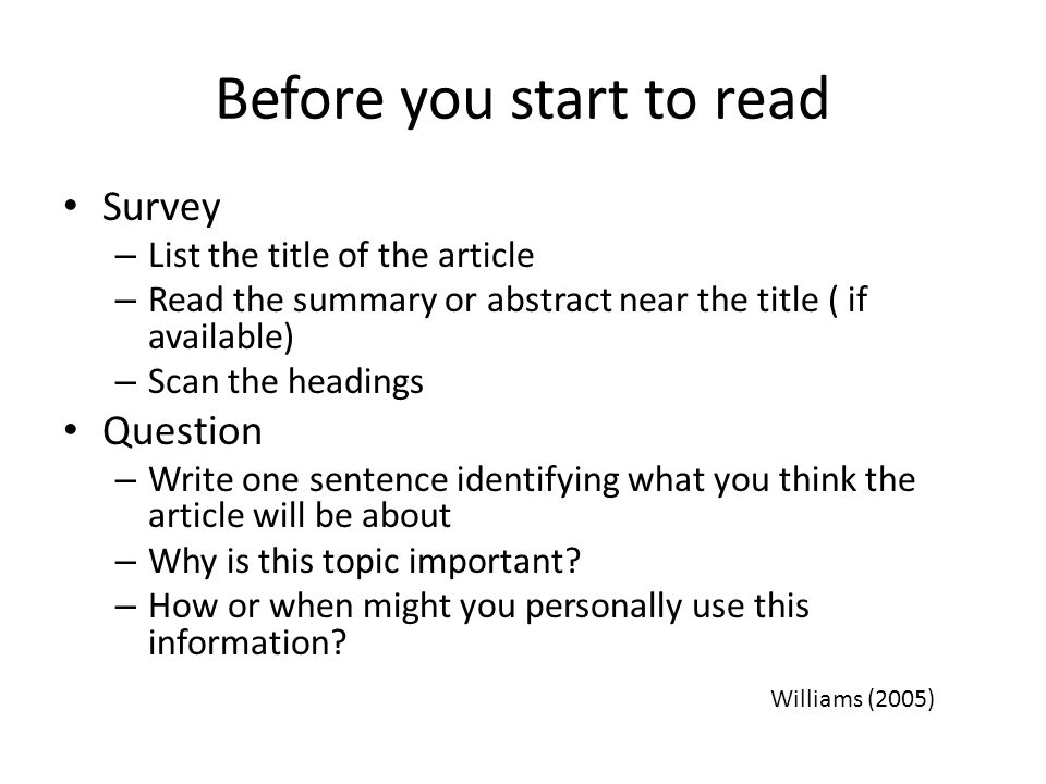 Before you start to read