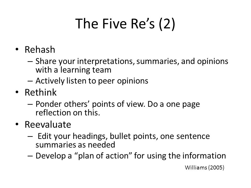 The Five Re's (2) Rehash Rethink Reevaluate