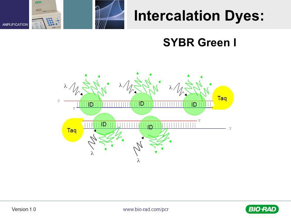 Intercalation Dyes: SYBR Green I l l l Taq ID 5' 3' 5' Taq 5' 3' l l