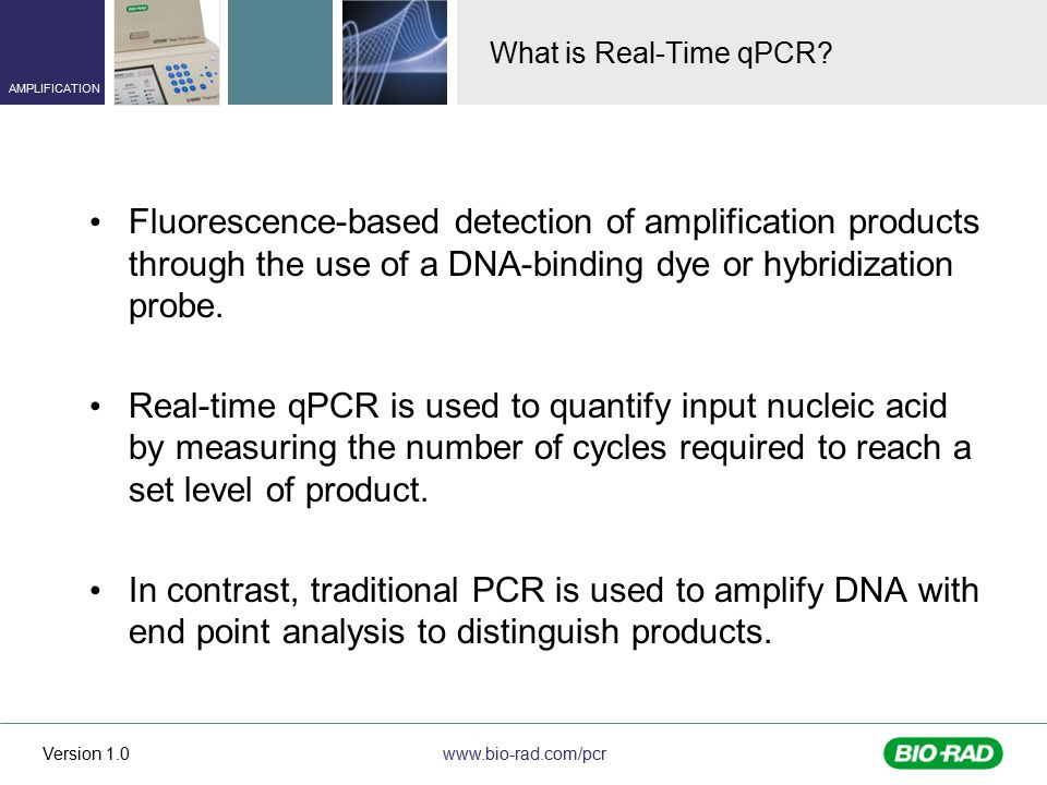 What is Real-Time qPCR Fluorescence-based detection of amplification products through the use of a DNA-binding dye or hybridization probe.