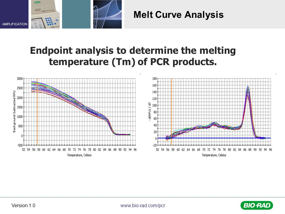 Melt Curve Analysis Endpoint analysis to determine the melting temperature (Tm) of PCR products.