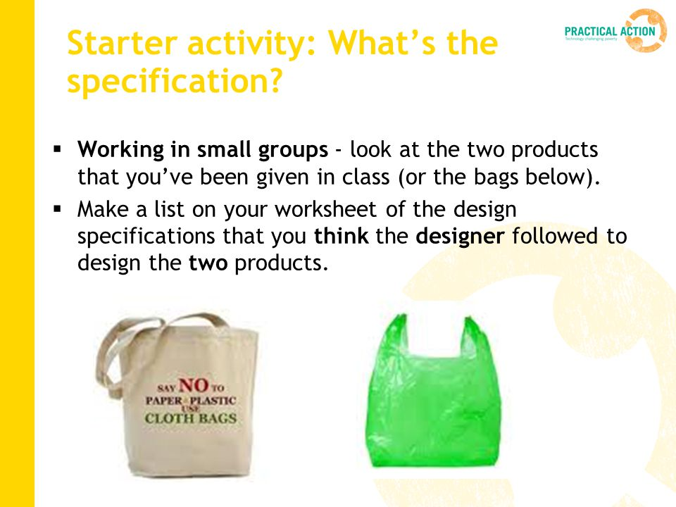 Starter activity: What's the specification