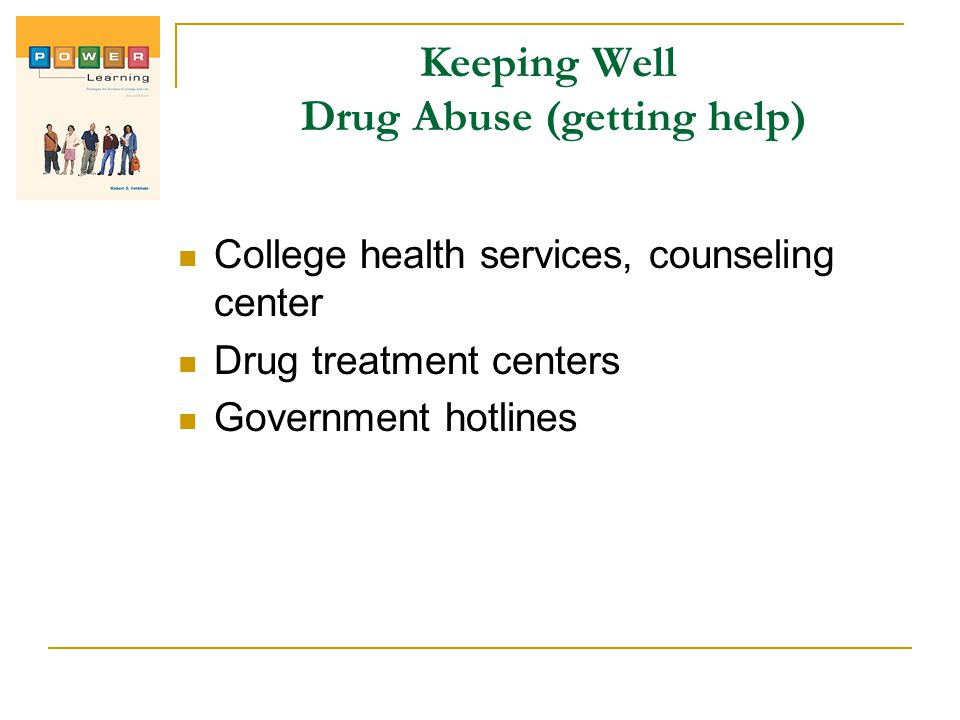 Keeping Well Drug Abuse (getting help)