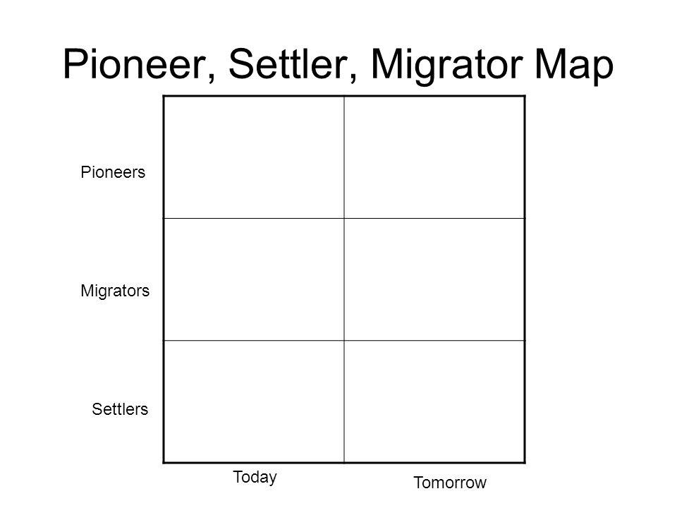 Pioneer, Settler, Migrator Map