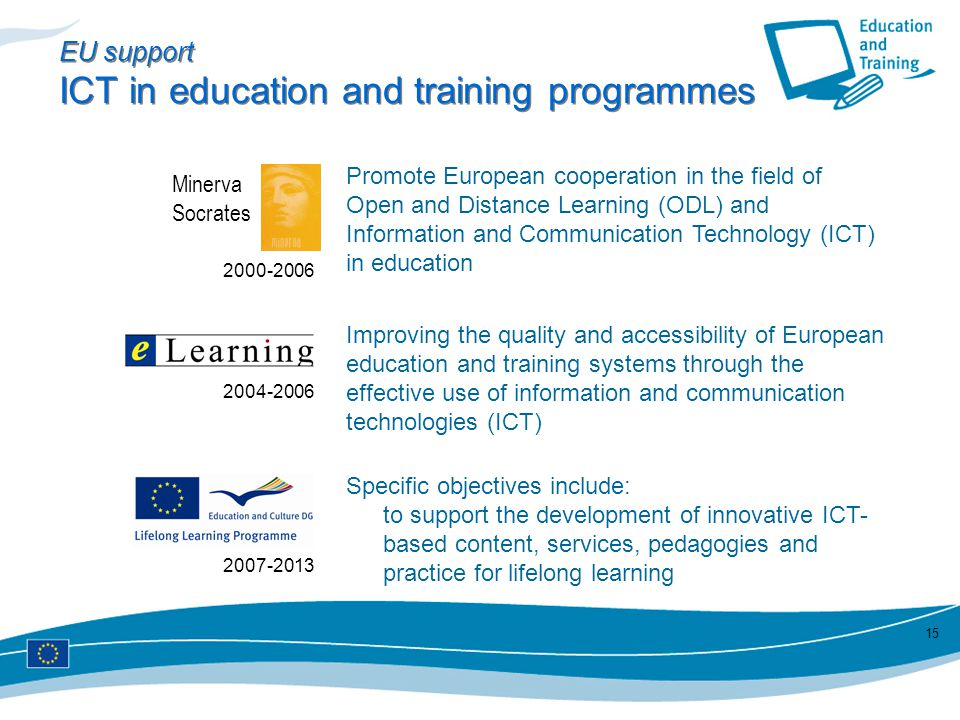 EU support ICT in education and training programmes
