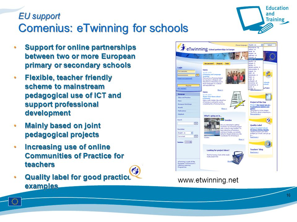 EU support Comenius: eTwinning for schools