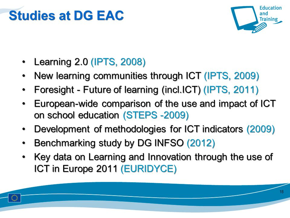 Studies at DG EAC Learning 2.0 (IPTS, 2008)