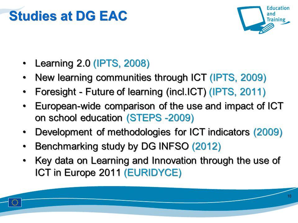 Studies at DG EAC Learning 2.0 (IPTS, 2008)