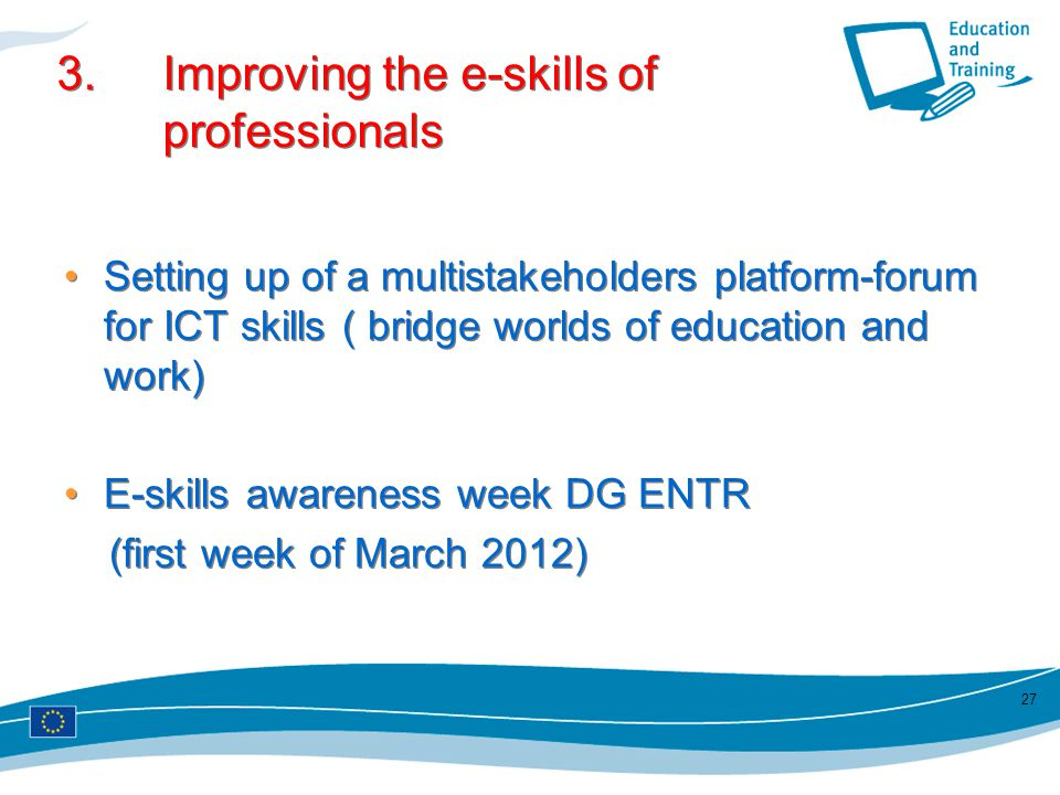 3. Improving the e-skills of professionals