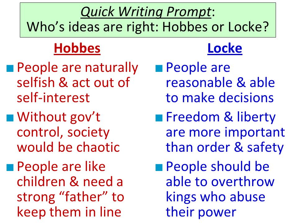 Quick Writing Prompt: Who's ideas are right: Hobbes or Locke