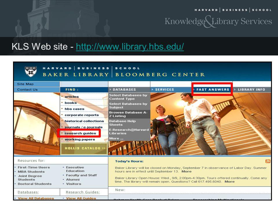 KLS Web site - http://www.library.hbs.edu/
