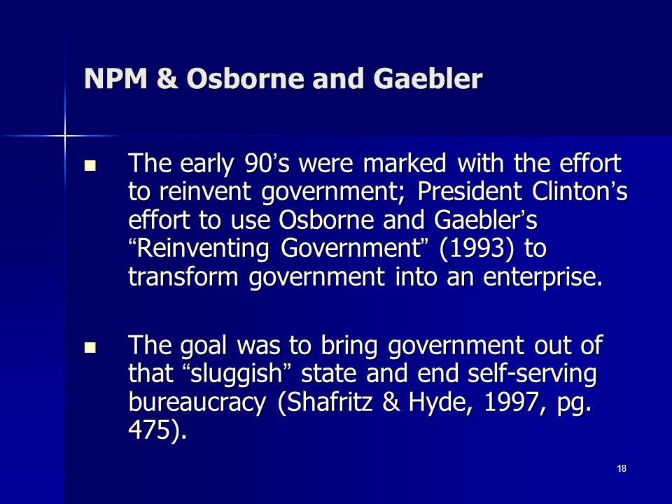 NPM & Osborne and Gaebler