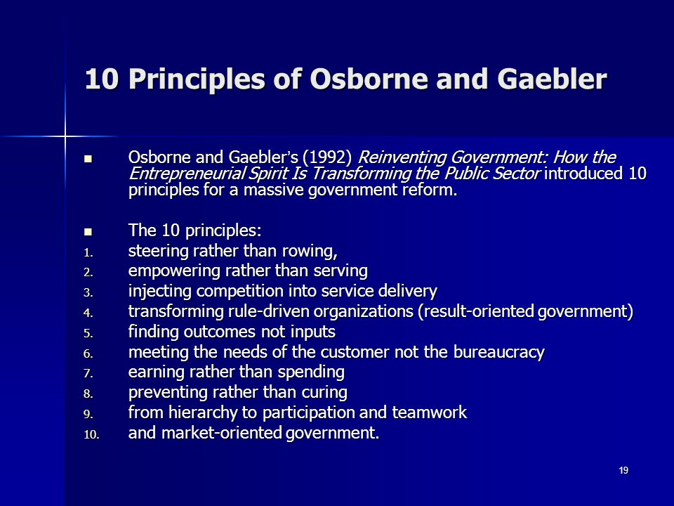 10 Principles of Osborne and Gaebler