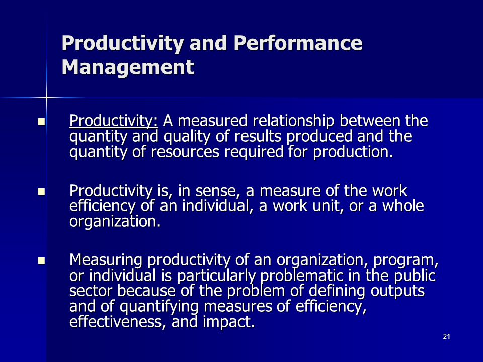Productivity and Performance Management