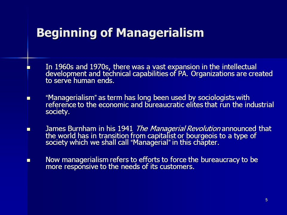 Beginning of Managerialism