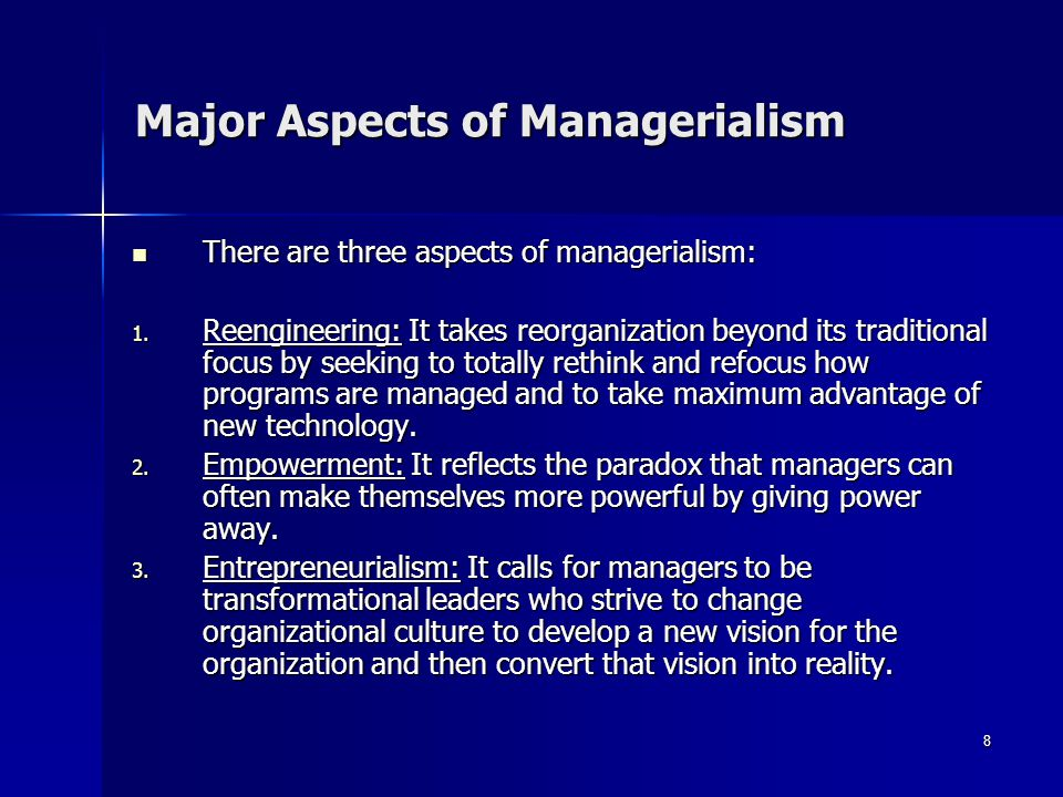 Major Aspects of Managerialism