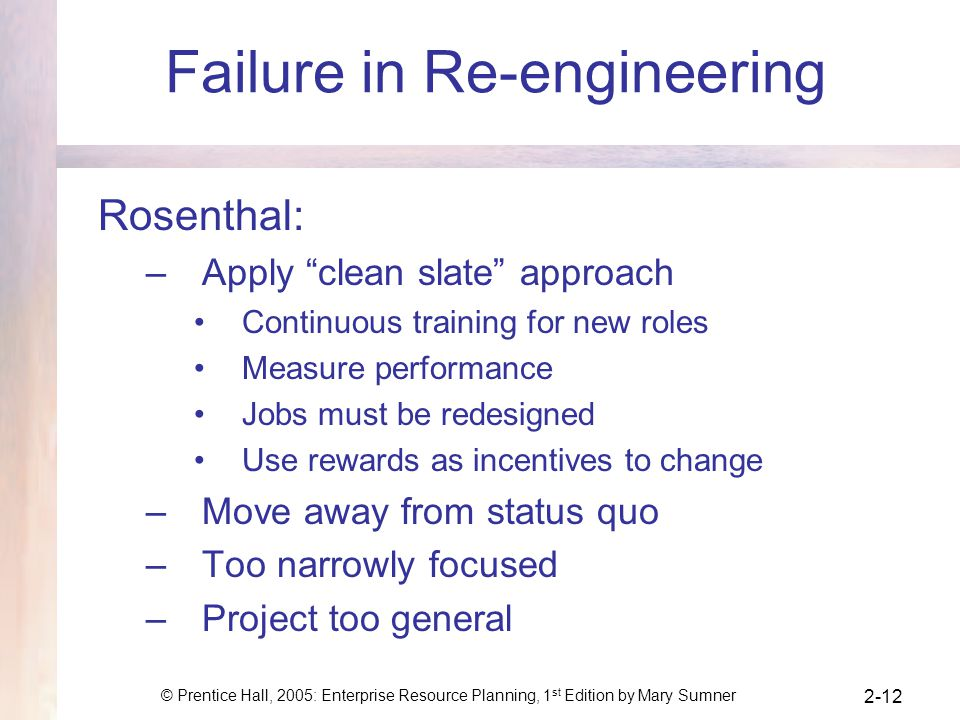 Failure in Re-engineering