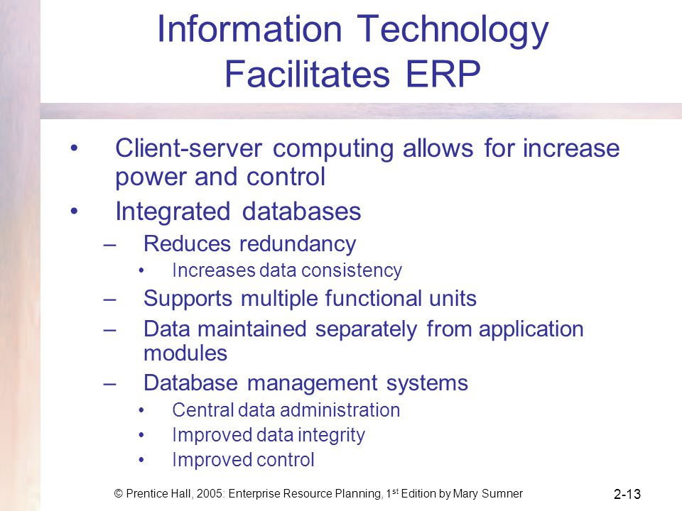 Information Technology Facilitates ERP
