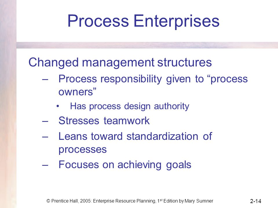 Process Enterprises Changed management structures