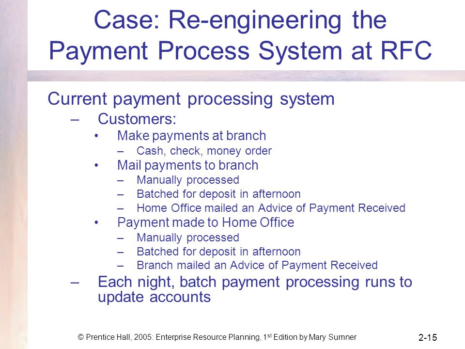 Case: Re-engineering the Payment Process System at RFC
