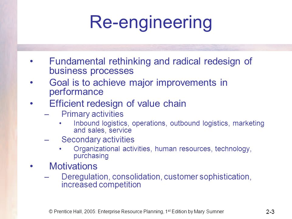 Re-engineering Fundamental rethinking and radical redesign of business processes. Goal is to achieve major improvements in performance.