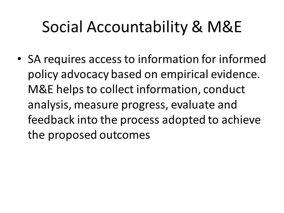 Social Accountability & M&E