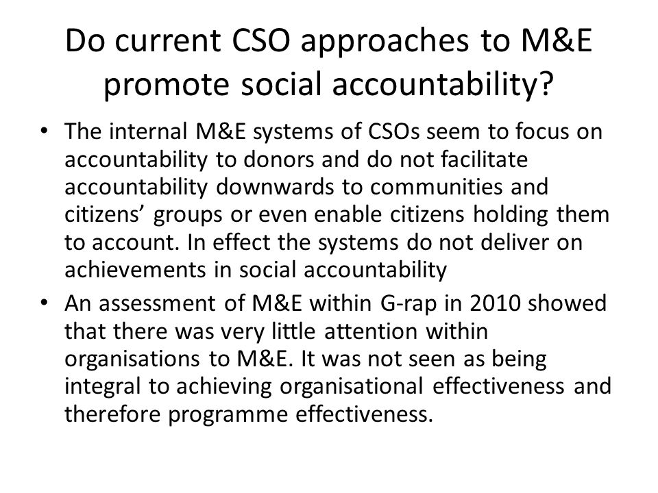 Do current CSO approaches to M&E promote social accountability