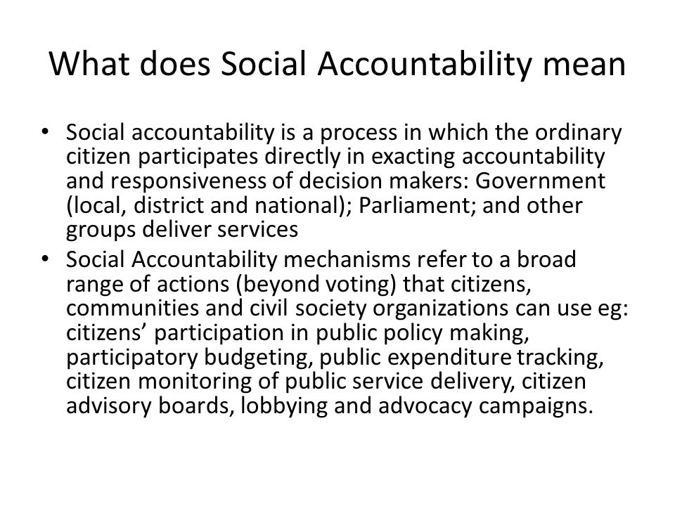 What does Social Accountability mean
