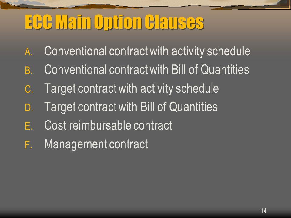 ECC Main Option Clauses